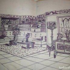 Arte: ANTIGUO VINTAGE DIBUJO COMEDOR PINTADO A MANO GRANDE. Lote 199891350