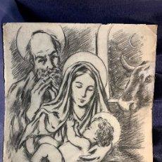 Arte: DIBUJO CARBONCILLO PPIO S XX NATIVIDAD SAGRADA FAMILIA PORTAL BELEN JOSE VIRGEN NIÑO BUEY 60X51CMS. Lote 199972092