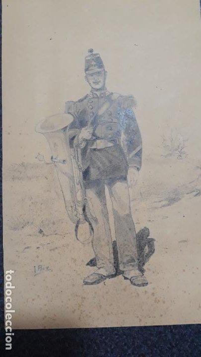 Arte: dibujo de soldado ,fino trabajo siglo xix - Foto 2 - 200282205