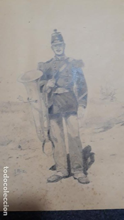 DIBUJO DE SOLDADO ,FINO TRABAJO SIGLO XIX (Arte - Dibujos - Modernos siglo XIX)