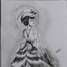 Arte: SEÑORITA CON SOMBRILLA OBRA DE GILABERTE. Lote 200549061