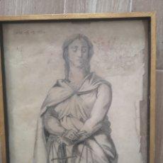Arte: TEMIS, DIIOSA DE LA JUSTICIA, AÑOS 20, ANTIGUO DIBUJO A LAPIZ, ENMARCADO 35X44. Lote 200568378
