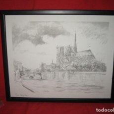 Arte: LAMNA EL DIBJUO DE PARIS NOTRE DANE FIRMADO POR MELAIN. Lote 200612088