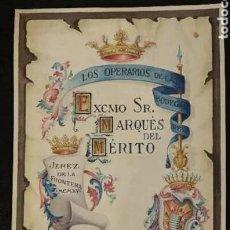 Arte: DIBUJO ORIGINAL PINTADO POR MAYOL, BODEGA EXCMO SR MARQUÉS MERITO. JEREZ FRONTERA. CADIZ.. Lote 201291621