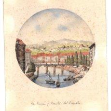 Arte: DIBUJO ORIGINAL TINTA CHINA CON ACUARELA LA RIBERA Y PUENTE DEL ARENAL, BILBAO. C. 1850. Lote 201305332