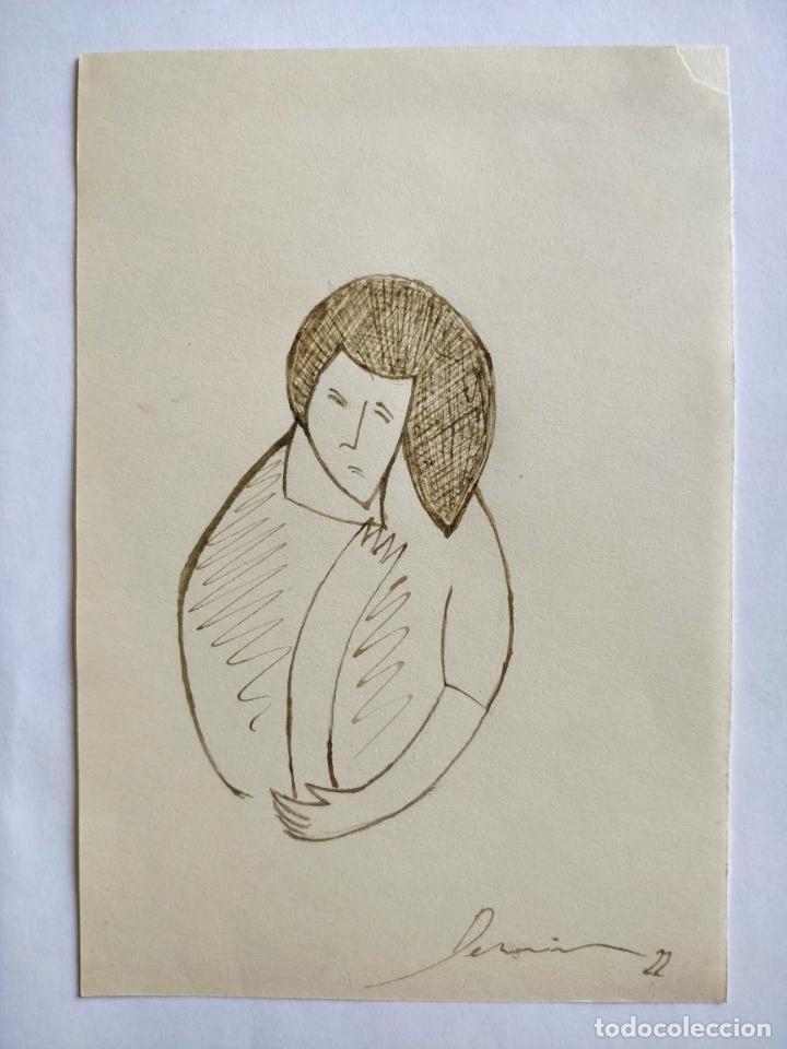 MARAVILLOSO RETRATO ORIGINAL FAUVISTA, TINTA/PAPEL, FIRMADO Y FECHADO. 1922, FIRMA ILEGIBLE DERAIN? (Arte - Dibujos - Modernos siglo XIX)