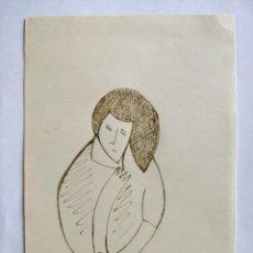 Arte: MARAVILLOSO RETRATO ORIGINAL FAUVISTA, TINTA/PAPEL, FIRMADO Y FECHADO. 1922, FIRMA ILEGIBLE DERAIN?. Lote 201523255