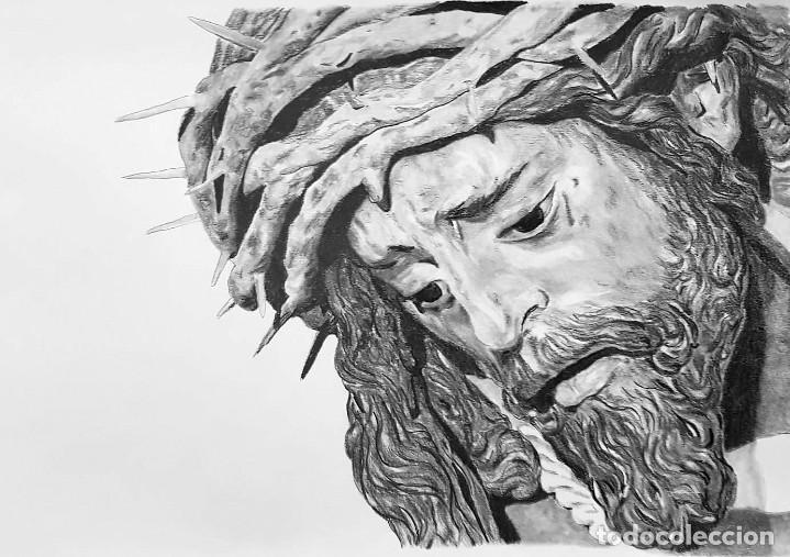 DIBUJO A GRAFITO JESÚS DEL GRAN PODER. SEVILLA (Arte - Dibujos - Contemporáneos siglo XX)