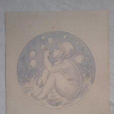 Arte: FRANCESC GASSÓ. ORIGINAL. NIÑO CON BURBUJAS. 20 X 16 CM.. Lote 201655865