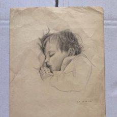 Arte: GABRIEL AMAT PAGES - NIÑO DURMIENDO. Lote 201755326