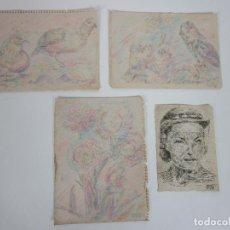 Arte: DIBUJOS EN LÁPIZ DE COLOR Y TINTA - FIRMA CMC - DIBUJO PÁJAROS, FLORES Y FIGURA - AÑO 1952. Lote 202249600