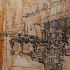 Arte: ALEXANDRE PARRIEGO PIGUILLEM?. DIBUJO A TINTA. 22,5 X 19,5 CM. Lote 202698138