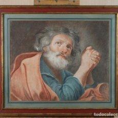 Arte: DIBUJO A LÁPIZ A LÁPIZ DE COLORES SOBRE PAPEL SAN PEDRO EN ORACIÓN ESCUELA ESPAÑOLA SIGLO XVIII. Lote 202704165