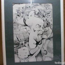 Arte: 2 CUADROS ORIGINALES A PINTA O PLUMILLA A EXPERTIZAR FAMOSA AUTORA RAQUEL CLEMENTE AÑOS 1967 Y 1969. Lote 202791060