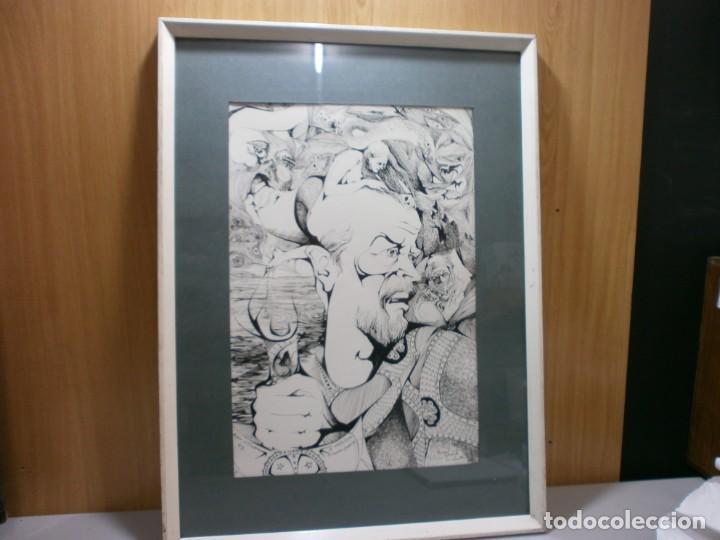 Arte: 2 cuadros originales a pinta o plumilla a expertizar famosa autora raquel clemente años 1967 y 1969 - Foto 2 - 202791060