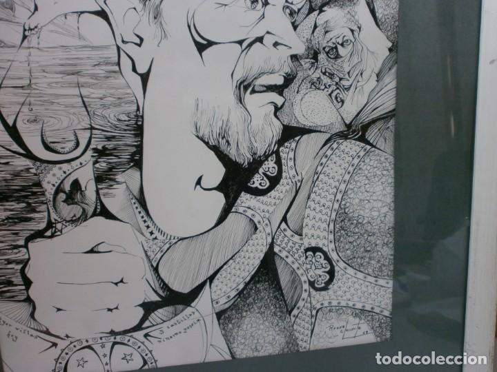 Arte: 2 cuadros originales a pinta o plumilla a expertizar famosa autora raquel clemente años 1967 y 1969 - Foto 9 - 202791060