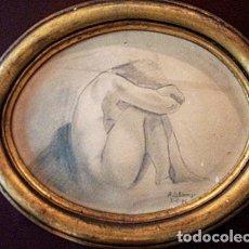 Arte: MJ DOMINGO - ORIGINAL DIBUJO A LAPIZ - DESNUDO - MARCO OVALADO - CUADRO FIRMADO Y FECHADO. Lote 202891610