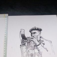Arte: DIBUJO TINTA CHINÁ PASTOR TOCANDO CUERNO ALBOKA ALBOCA AEROFONO DE PATXI ORTIZ 28X21 APROX + SELLO. Lote 202898515