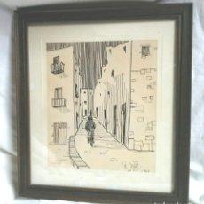 Arte: FIDEL BOFILL AÑO 1963, DIBUJO A LA TINTA IBIZA.. Lote 202920532