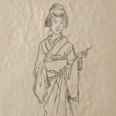 Arte: EXCELENTE DIBUJO ORIGINAL A CARBONCILLO, RETRATO DE UNA GEISHA, GRAN CALIDAD. JAPÓN. Lote 203019815