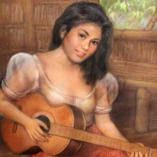 Arte: CESAR AMORSOLO (FILIPINAS, 1903-1998) DIBUJO A PASTEL. JOVEN TOCANDO LA GUITARRA. Lote 203099270