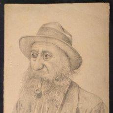 Arte: ANCIANO BARBADO, FUMANDO EN PIPA. DIBUJO DE CARÁCTER PINTORESCO. FECHADO 1932.. Lote 203296572