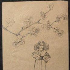 Arte: DIBUJO DE NIÑA PORTANDO LIBROS BAJO UNA RAMA DE CEREZOS. JAPONISMO. AMATEUR BRITÁNICO. 1912.. Lote 203296608