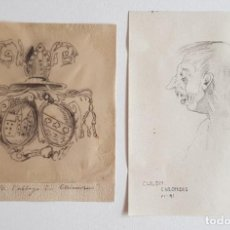 Arte: DOS DIBUJOS ANTIGUOS A LÁPIZ. FECHADO Y TITULADO. Lote 203322782