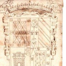 Arte: DIBUJO ORIGINAL ESCUDO HERALDICO. SIGLO XVIII. Lote 203327971