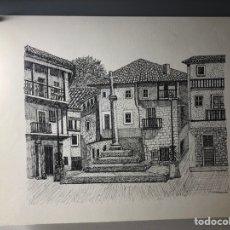 Arte: DIBUJO DE PLAZA DE PUEBLO ··· DESCONOZCO TECNICA UTILIZADA ·· 33 X 25 CMS. Lote 203434093