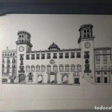 Arte: DIBUJO DE LA FACHADA DEL AYUNTAMIENTO DE ALICANTE ··· DESCONOZCO TECNICA UTILIZADA ·· 33 X 25 CMS. Lote 203434663
