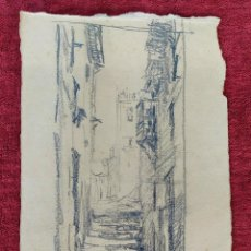 Arte: CALLEJUELA DE PUEBLO. DIBUJO. GRAFITO SOBRE PAPEL. ATRIBUIDO A JULIÁN DEL POZO. ESPAÑA. XIX-XX. Lote 203775143