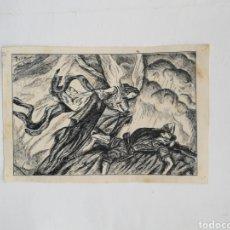 Arte: DIBUJO 1941 SOLDADO MUERTO ARROPADO ÁNGEL FIRMADO ABELLÓ?. Lote 203830872