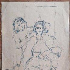 Arte: INTERESANTE DIBUJO ORIGINAL A PLUMILLA TINTA FIRMADO Y FECHADO 1945, GRAN CALIDAD. Lote 203893586