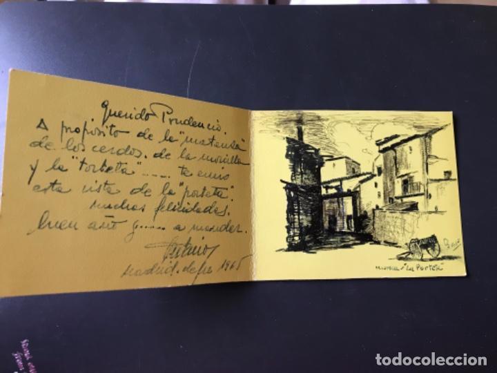 HUESCA LA PORTETA DIBUJO FIRMADO PUERTA MONTEARAGON ORIGINAL PLUMA FELICITACION (Arte - Dibujos - Contemporáneos siglo XX)