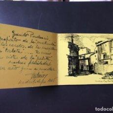Arte: HUESCA LA PORTETA DIBUJO FIRMADO PUERTA MONTEARAGON ORIGINAL PLUMA FELICITACION. Lote 204034683