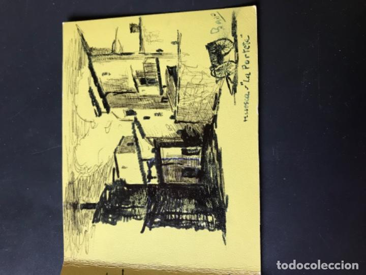 Arte: Huesca la porteta dibujo firmado puerta montearagon original pluma felicitacion - Foto 2 - 204034683