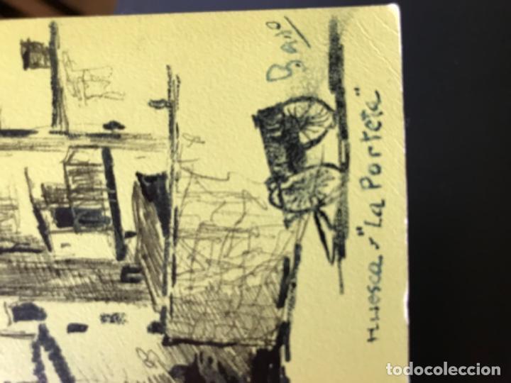 Arte: Huesca la porteta dibujo firmado puerta montearagon original pluma felicitacion - Foto 3 - 204034683