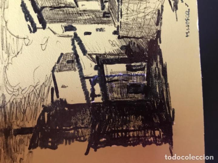 Arte: Huesca la porteta dibujo firmado puerta montearagon original pluma felicitacion - Foto 4 - 204034683