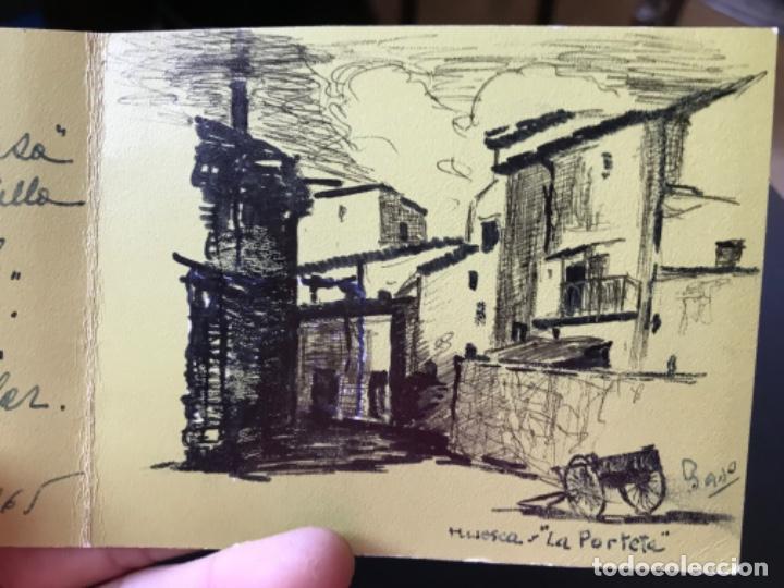 Arte: Huesca la porteta dibujo firmado puerta montearagon original pluma felicitacion - Foto 7 - 204034683