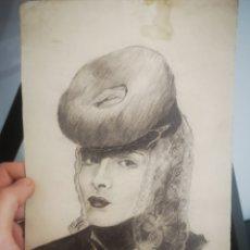 Arte: J. MORERA, RETRATO DE M DOLORES BELTRAN, 1940. 24X16. Lote 204223037
