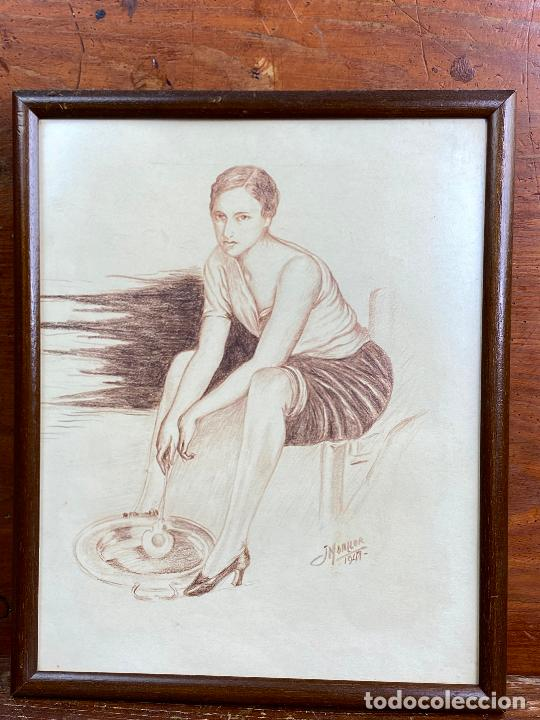 DIBUJO DEL PINTOR MURCIANO JORGE MONLLOR 1947 - MURCIA (Arte - Dibujos - Contemporáneos siglo XX)