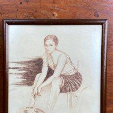 Arte: DIBUJO DEL PINTOR MURCIANO JORGE MONLLOR 1947 - MURCIA. Lote 204253275