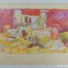 Arte: BONITO DIBUJO CASTILLO EXCELENTES COLORES MUY LLAMATIVO. Lote 204313085