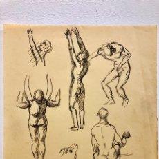 Arte: DIBUJO ORIGINAL ANTIGUO. APUNTES INGLESES. 22X21CM. Lote 204334438