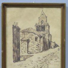 Arte: VISTA DE IGLESIA. ESCUELA CASTELLANA. FIRMADO PABLO 1961. Lote 204464203