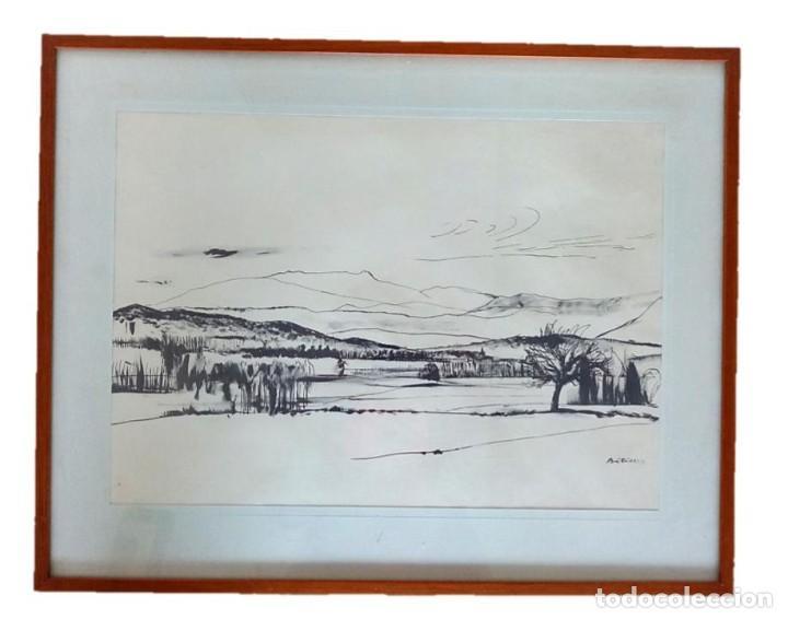 PLUMILLA DEL PINTOR RAFAEL BATALLER I GIRALT - PAISAJE VALL DE ARAN (Arte - Dibujos - Contemporáneos siglo XX)