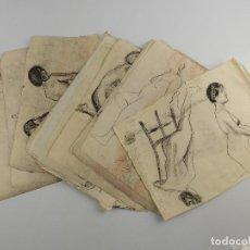 Arte: VARIAS HOJAS CON DIBUJOS DE MUJERES DESNUDAS. Lote 204598922