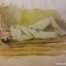 Art: ORIGINAL. OBRA DE FRANCESC GASSÓ. HOMBRE. COLOREADO. MEDIDAS 27*21 CM. Lote 204643330