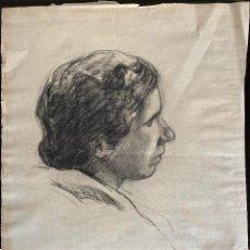 Arte: JOSÉ MONGRELL TORRENT (1870-1937) RETRATO. DIBUJO AL CARBÓN SOBRE PAPEL. Lote 204691690